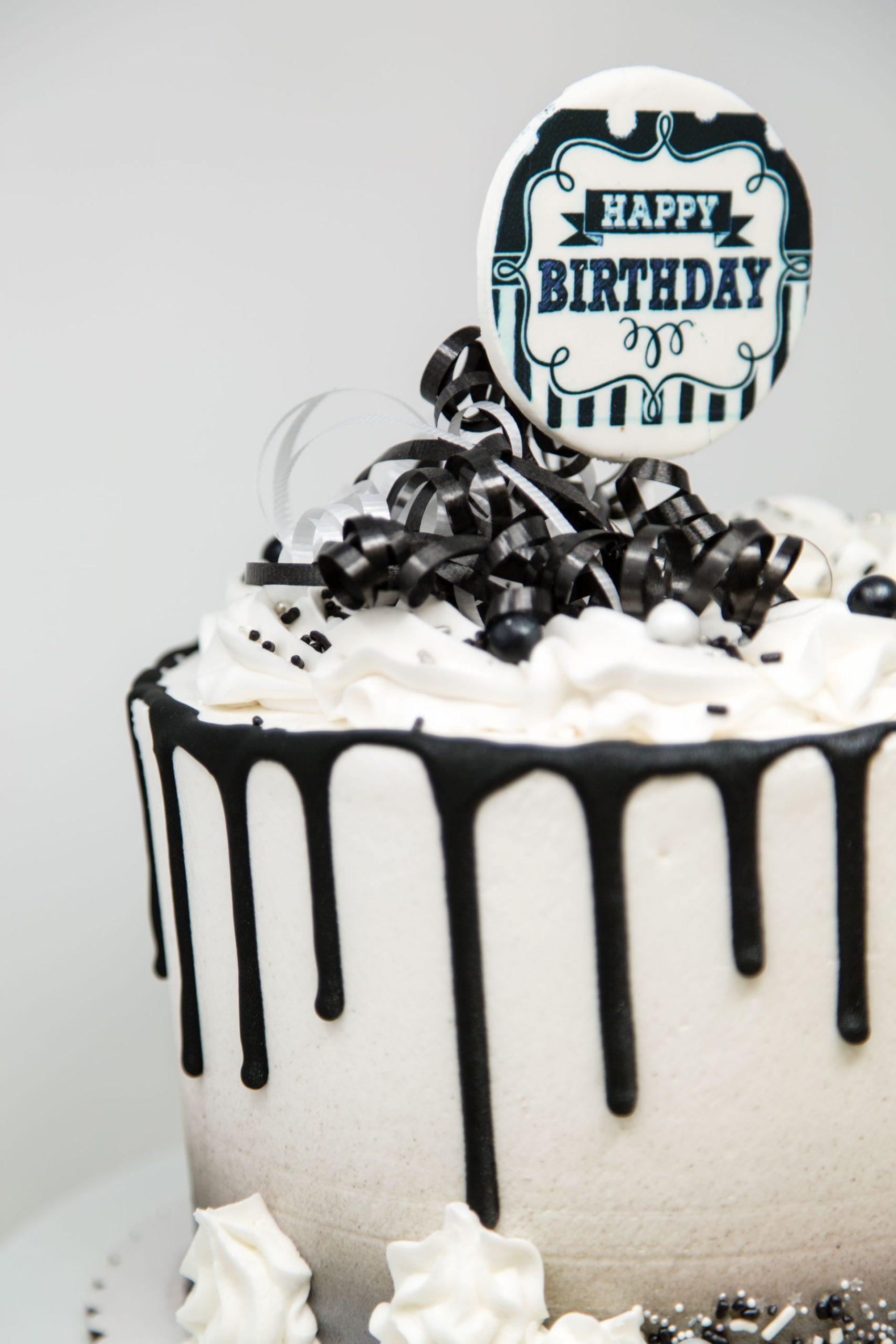 Tremendous Black White Birthday Belmar Bakery Personalised Birthday Cards Veneteletsinfo